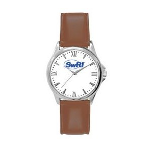 Pedre Women's Clarity Silver-Tone Watch with Brown Strap