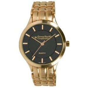 Men's Pedre Midas Gold-Tone Bracelet Watch (Black Dial)