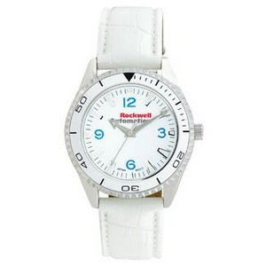 Unisex Pedre Liberty Watch W/ White Matte Finish Crocodile Grain Strap