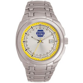 Men's Pedre Monterey Silver Watch (Yellow Inner Ring)