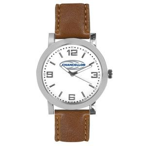 Pedre Distinction Men's Brown Strap Watch (White Dial)