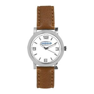 Pedre Distinction Women's Brown Leather Strap Watch (White Dial)