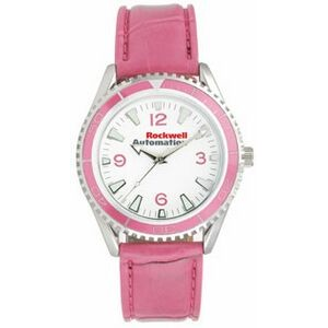 Pedre Unisex Liberty Watch W/ Pink Matte Finish Crocodile Grain Strap