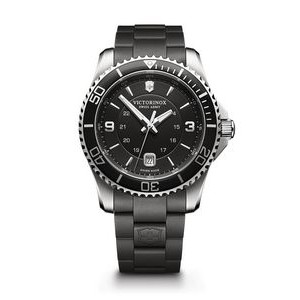 Maverick Large Black Dial/Black Rubber Strap Watch