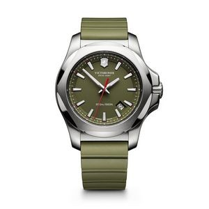 INOX Large Green Dial/Green Genuine Rubber Strap Watch