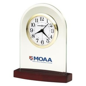 Howard Miller Hansen Glass Arch Clock w/ Rosewood Finish Base