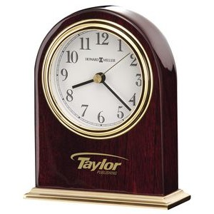 Howard Miller Monroe Gloss Rosewood Arch Clock w/ Brass Finish Base